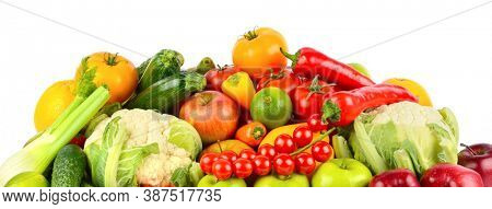 Set of healthy vegetables and fruits isolated on white background.