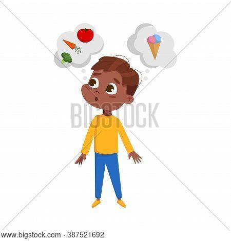 Cute Hungry African American Boy Want To Eat, Kid Choosing Between Healthy And Unhealthy Food Cartoo