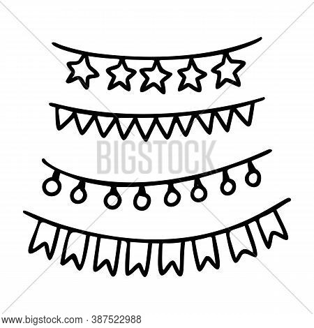 Christmas Garland Outline Hand Drawn Element. Xmas Doodle Icon Element For Logo. Christmas Garland H