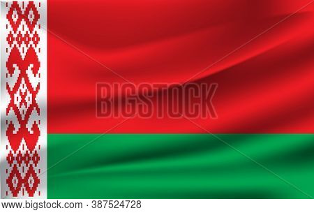 Realistic Waving Flag Of The Belarus. Fabric Textured Flowing Flag,vector Eps10