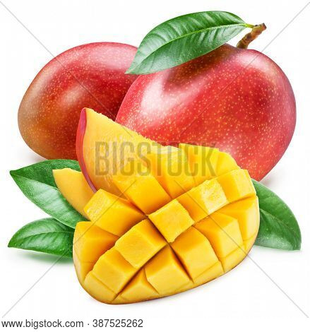 Mango with leaves and mango slices isolated on a white background. Clipping path.