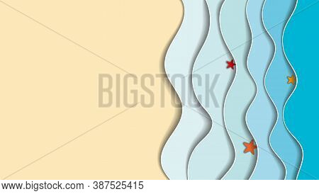 Sea Side, Paper Cutout. Blue Waves, Starfish On The Waves, Yellow Sand.