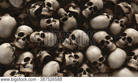 Human Skulls Background From 3d Rendering For Halloween And Apocalypse Concept.