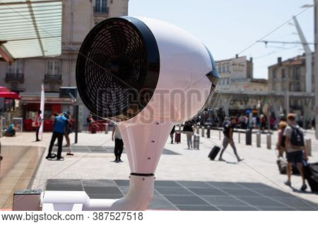 Large White Air Fan On City Street In Summer Day In Bordeaux Town France