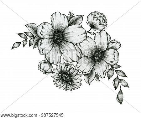 Hand Drawn Bouquet Of Flowers Isolated On White, Black And White Ink Floral Design With Flowers And