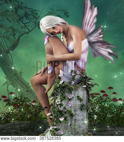 Beautiful Pink Fairy Resting Place In The Enchanted Forest - 3d Illustration