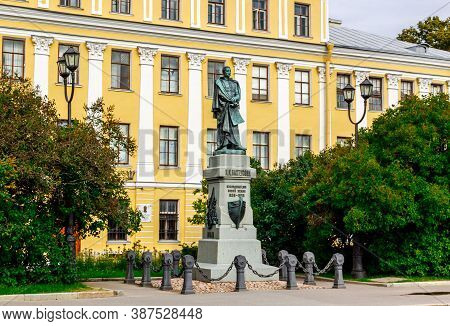 Kronshtadt, Saint Petersburg, Russia - Septermber 5, 2020: Monument To Petr Pakhtusov, Russian Explo
