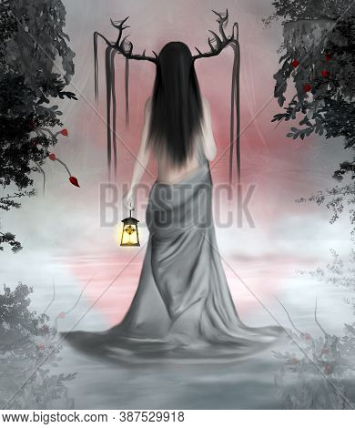 Turned Back Fantasy Woman With Horns And Taking A Lantern In A Foggy Scenery - 3d Illustration