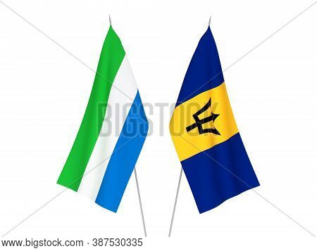 National Fabric Flags Of Sierra Leone And Barbados Isolated On White Background. 3d Rendering Illust