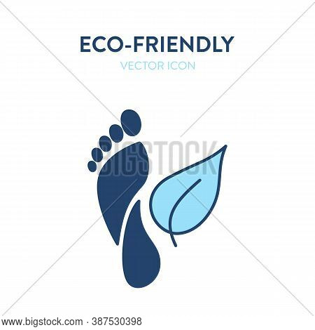 Eco-friendly Symbol Icon. Vector Illustration Of A Footprint And A Leaf. Represents Concept Of Envir