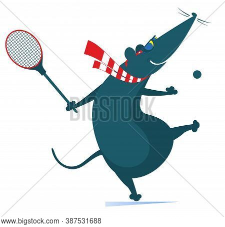Funny Rat Or Mouse Plays Tennis Illustration. Cartoon Rat Or Mouse Plays Tennis Isolated On White