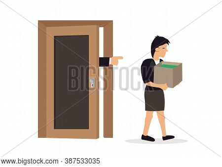 Boss Dismissing Woman. Businessman Angry With Employee, Sacked Staff. Vector Illustration.