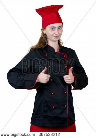 Successful Young Female Cook Apprentice Isolated On White Background