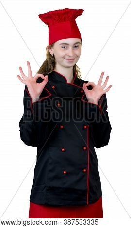 Laughing Young Female Cook Apprentice Isolated On White Background