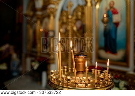 Church. Orthodox Church. Christianity. Church Lighted Candles. Icon.