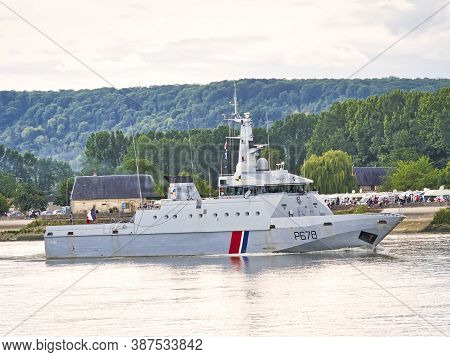 Rouen, France - June Circa, 2019. The Pluvier, Navy Border Patrol Boat On The Seine River For Armada