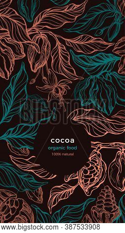 Cocoa Background. Vector Chocolate Tree, Golden Bean, Green Leaves, Tropical Flower. Art Graphic Ill