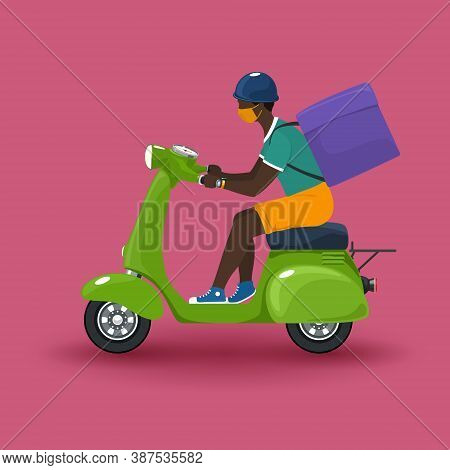 Young African Guy In Protective Face Mask With Box For Food Delivery Rides A Scooter, Green Vintage