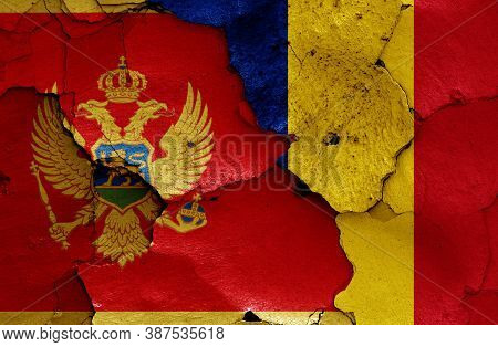 Flags Of Montenegro And Romania Painted On Cracked Wall
