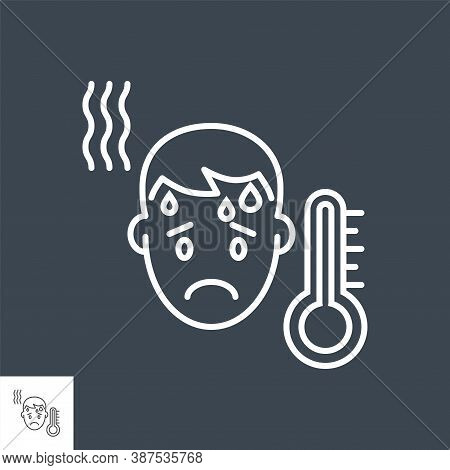 High Body Temperature Related Vector Thin Line Icon. Mans Head And High Temperature Thermometer. Iso