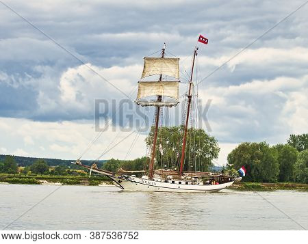 Rouen, France - June Circa, 2019. Sailing Ship Jr Tolkien On The Seine River In France, For Armada E