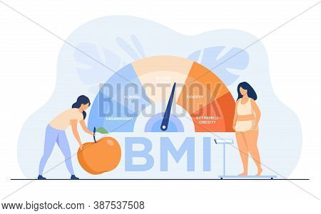Tiny Women Near Obese Chart Scales Isolated Flat Vector Illustration. Cartoon Female Characters On D