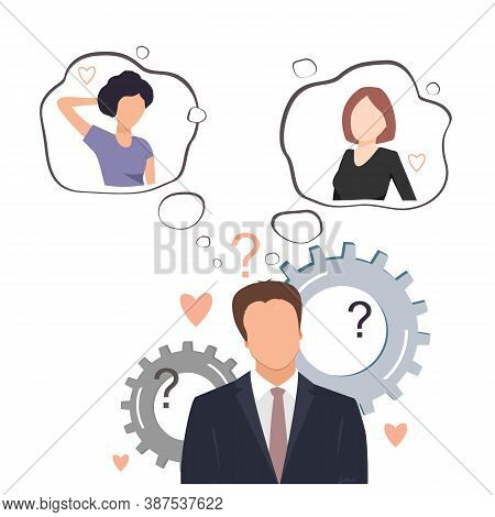 Undecided Man Doubting Between Two Loves. Young Businessman Thinking About Two Pretty Women And Tryi