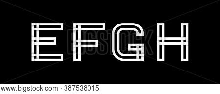 Capital Letters E, F, G, H. Created From Interwoven White Stripes With Shadows On A Black Background