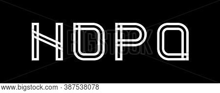 Capital Letters N, O, P, Q. Created From Interwoven White Stripes With Shadows On A Black Background