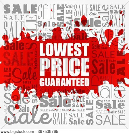 Lowest Price Guaranteed Sale Word Cloud, Business Concept Background