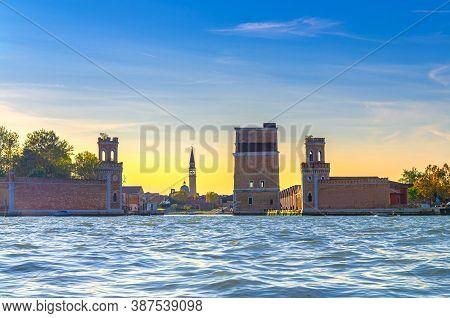 Venetian Arsenal Or Arsenale Di Venezia Main Water Gate From Venetian Lagoon With Torre Dellarsenale
