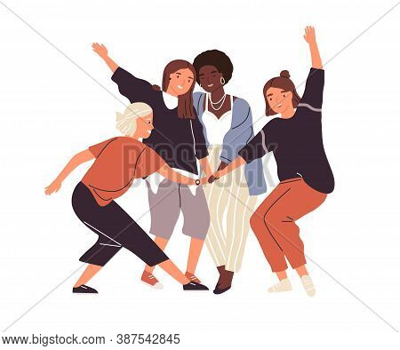 Happy Diverse Female Friends Putting Hands Together Vector Flat Illustration. Group Of Smiling Woman