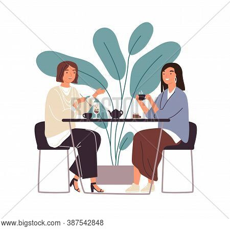 Female Friends Drinking Tea Together At Cafe Vector Flat Illustration. Smiling Woman Gossiping Spend
