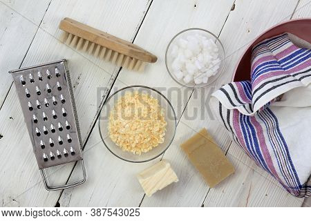 Grated Soap For Natural Laundry. Eco Friendly Way How To Wash Laundry. It Is Made From Soap, Crystal