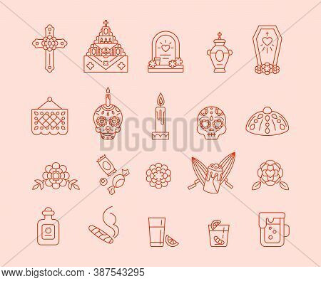 Dia De Muertos - Set Of Outline Icons. Day Of The Dead - Traditional Calavera Symbols. Bread Pan De