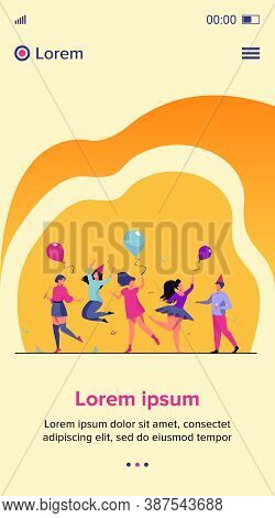 Happy Excited People Dancing At Party Flat Vector Illustration. Cheerful Group Of Friends Having Fun