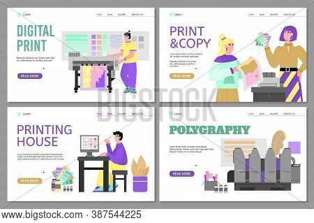 Set Of Website Banners For Offset Polygraphy Services And Printing House With Cartoon People And Pri