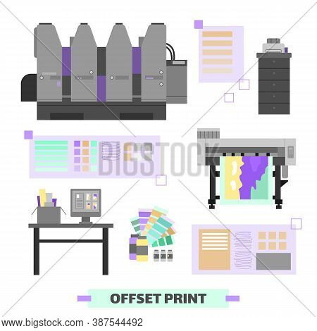 Polygraphy And Printing House Equipment And Facility Set Of Flat Cartoon Vector Illustrations Isolat