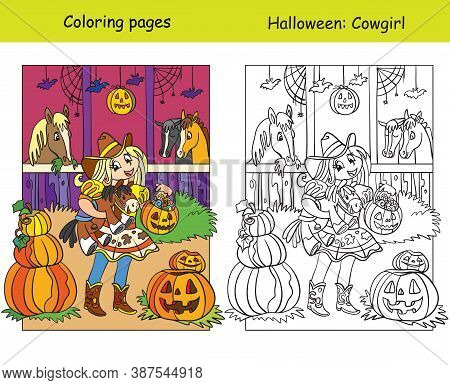 Coloring With Colored Example Halloween Cowgirl In The Stable