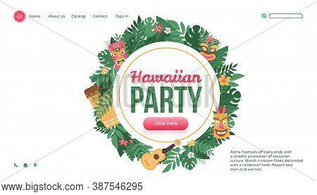 Aloha Hawaiian Party Website Interface Design With Tropical Leaves, Flat Vector Illustration. Beach