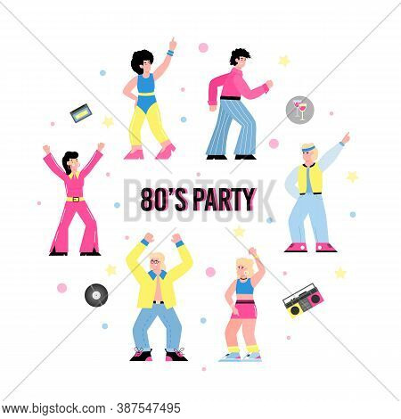 Banner Or Poster For 80s Party With Dancing People Cartoon Characters Dressed In Trends Of Eighties