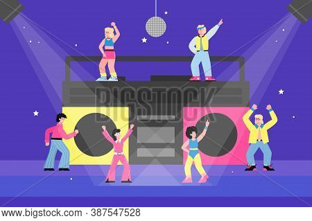 Disco Party Banner With Tiny People Dancing In Front Of Huge Record Player, Flat Cartoon Vector Illu