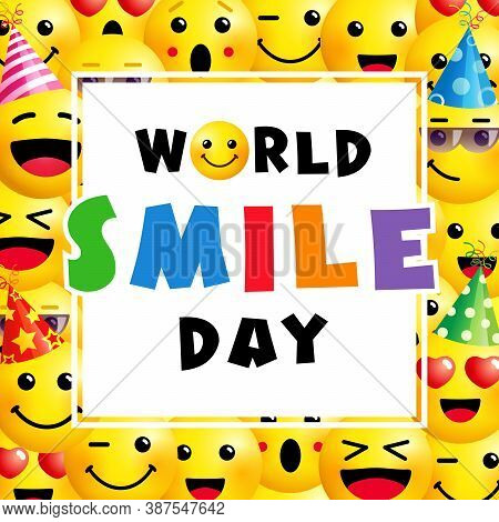 World Smile Day Banner, October 2th. Smile Icon In Colored Text Template Design. Vector Smiling Emot