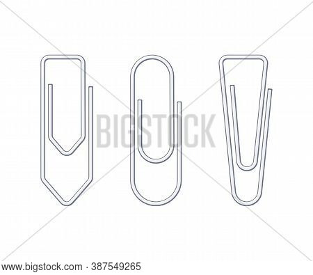 Metallic Wire Paper Clips Of Various Shapes. School And Office Supplies Collection. Flat Vector Illu
