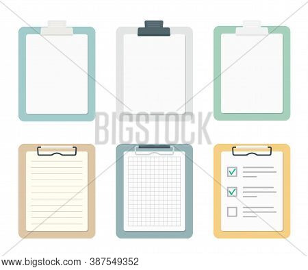 Colored Clipboards With Paper Sheets Set. School And Office Supplies Collection. Flat Vector Illustr
