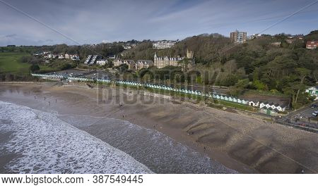 Editorial Swansea, Uk - February 12, 2020: Aerial View Of The Beach Chalets At Langland Bay On The G