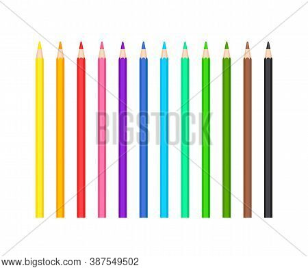 Set Of Classic Colored Sharpened Pencils Of 12 Colors. Office And School Writing Or Drawing Statione