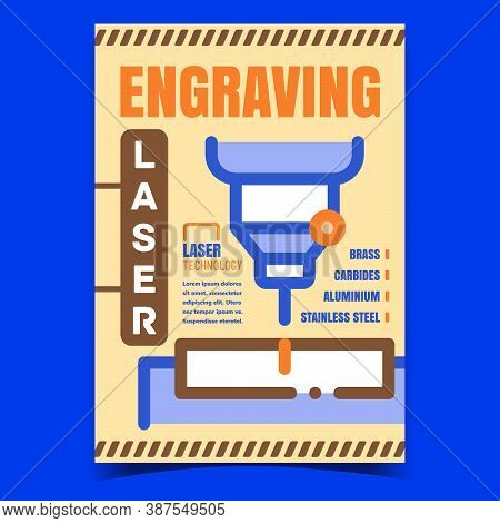 Engraving Laser Creative Advertise Poster Vector. Laser Industry Equipment Technology For Etching On