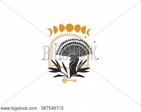 Hand Drawn Vector Abstract Stock Flat Graphic Illustration With Logo Elements , Female Hand And Moon