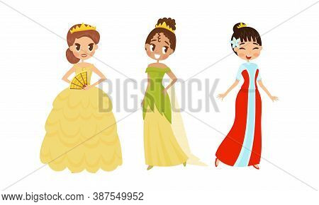 Smiling Princess With Dark Hair Wearing Crown And Dressy Look Garment Vector Illustration Set